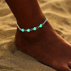 Luminous Boho Summertime Silver Heart Anklet